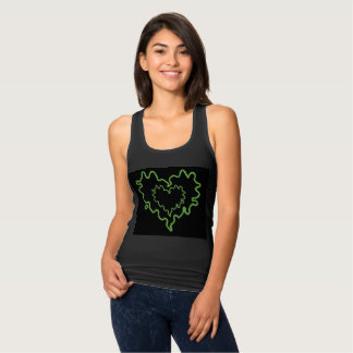 Neon Green Curly Heart within Heart Tank Top