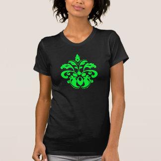 Neon green damask motif cute and fashionable tee shirt