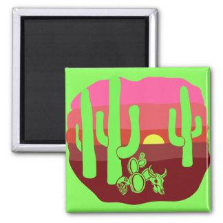 Neon Green Desert Skulls Cacti Sunset Square Magnet