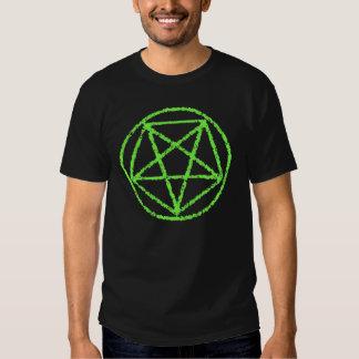 Neon Green Faded Satanic Star Power Symbol Tee