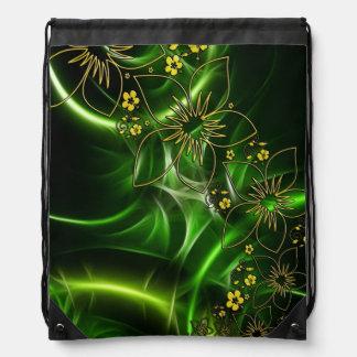 Neon Green Floral Fractal Backpacks