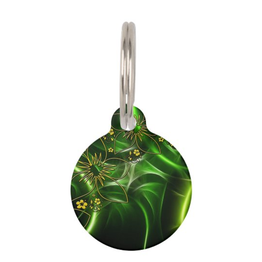 Neon Green Floral Fractal Pet ID Tag