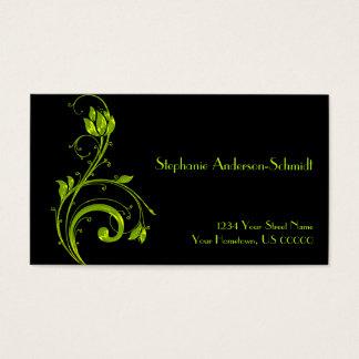 Neon Green Floral Leaf Swirls on Black Busines Business Card