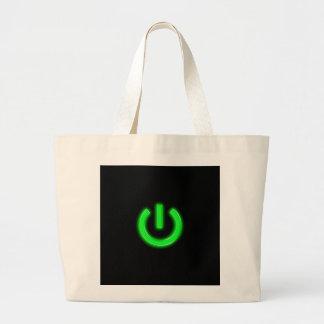 Neon Green Flourescent Power Button Canvas Bag