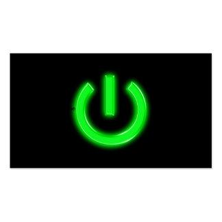 Neon Green Flourescent Power Button Business Card Templates