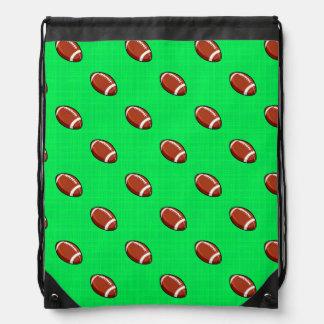 Neon Green Football Pattern Drawstring Bag