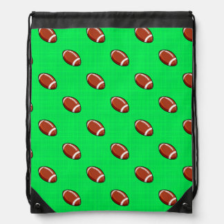 Neon Green Football Pattern Cinch Bag