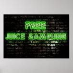 Neon Green Free Juice Sampling Poster