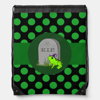 Neon Green Frog Witch - Grave Stone & Green Dots Drawstring Backpack