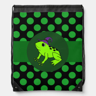 Neon Green Frog Witch with Green Dots Backpack