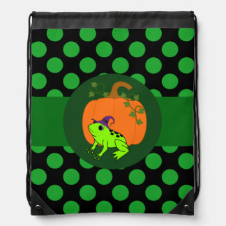 Neon Green Frog Witch with Pumpkin & Green Dots Backpacks