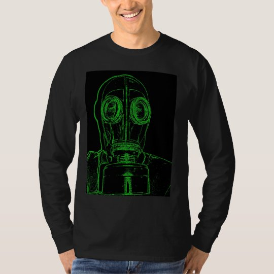 Neon Green Gas Mask Outline by KLM T-Shirt