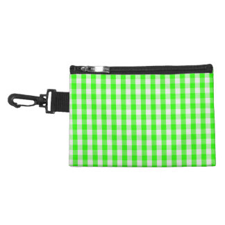 Neon Green Gingham Pattern Accessory Bags