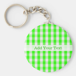 Neon Green Gingham Pattern by Shirley Taylor Basic Round Button Key Ring
