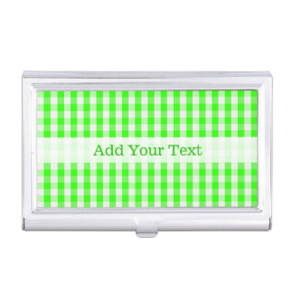 Neon Green Gingham Pattern by Shirley Taylor Business Card Holders