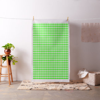 Neon Green Gingham Pattern by Shirley Taylor Fabric