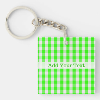 Neon Green Gingham Pattern by Shirley Taylor Key Ring