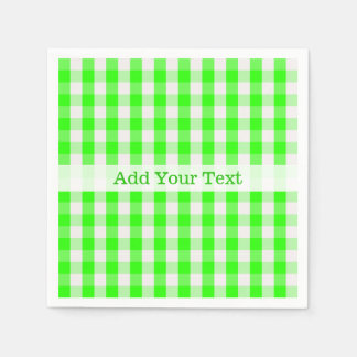 Neon Green Gingham Pattern by Shirley Taylor Paper Serviettes