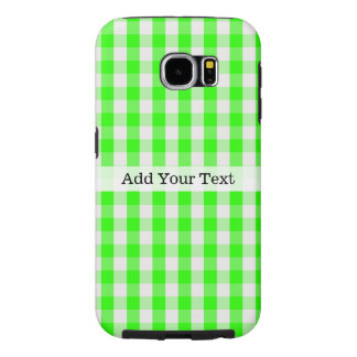 Neon Green Gingham Pattern by Shirley Taylor Samsung Galaxy S6 Cases