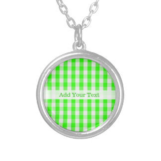 Neon Green Gingham Pattern by Shirley Taylor Silver Plated Necklace
