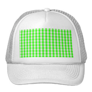 Neon Green Gingham Pattern Cap