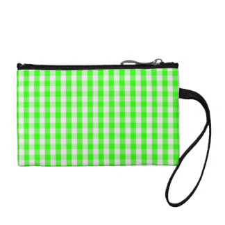 Neon Green Gingham Pattern Coin Wallet