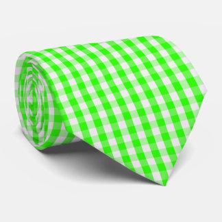 Neon Green Gingham Pattern Tie