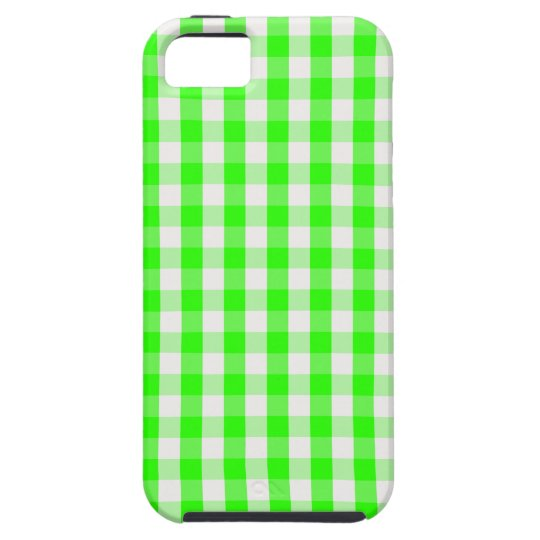 Neon Green Gingham Pattern Tough iPhone 5 Case