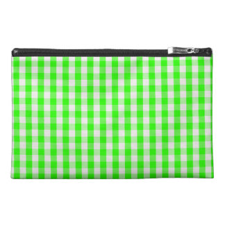 Neon Green Gingham Pattern Travel Accessory Bag