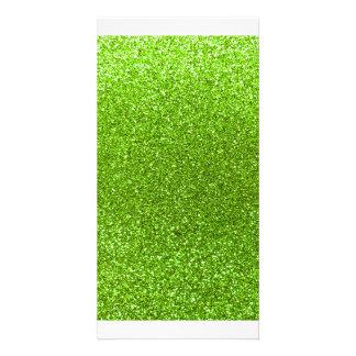 Neon green glitter customised photo card