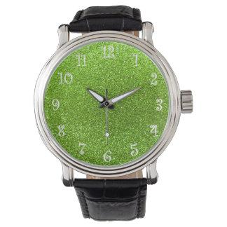 Neon green glitter watch