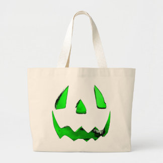 Neon Green Glow Jack O'Lantern Face Jumbo Tote Bag