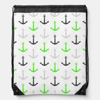Neon Green, Gray, Anchors; Nautical Drawstring Backpack