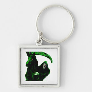 Neon Green Grim Reaper Horseman Series by Valpyra Silver-Colored Square Key Ring