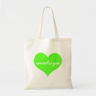 Neon Green Heart Personalized Budget Tote