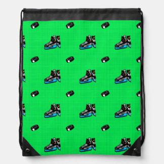 Neon Green Hockey Pattern Drawstring Backpacks
