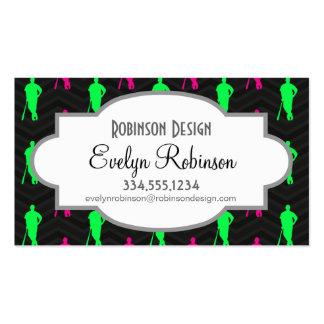 Neon Green, Hot Pink, Baseball, Softball Black Pack Of Standard Business Cards