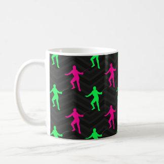 Neon Green, Hot Pink, Fencing, Black Chevron Mug