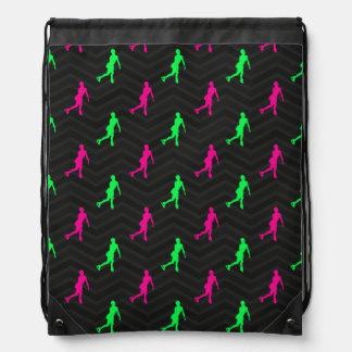 Neon Green, Hot Pink, Figure Skating Black Chevron Backpacks