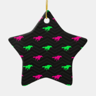 Neon Green, Hot Pink, Horse Racing, Black Chevron Christmas Ornaments