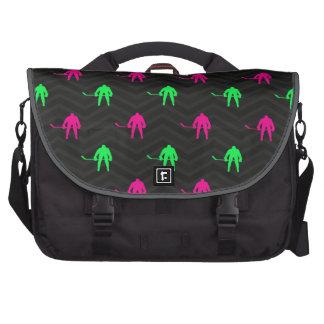 Neon Green, Hot Pink, Ice Hockey, Black Chevron Laptop Computer Bag