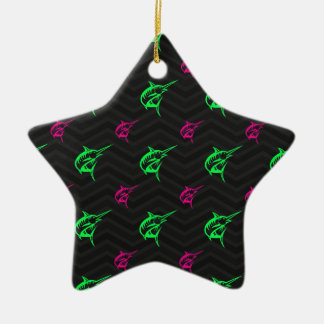 Neon Green, Hot Pink, Offshore Fishing, Black Ceramic Star Decoration