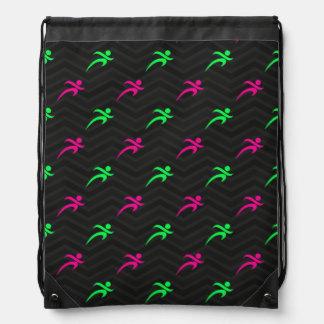 Neon Green, Hot Pink, Running, Runner, Black Cinch Bag