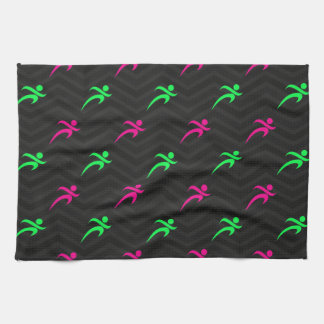 Neon Green, Hot Pink, Running, Runner, Black Towels