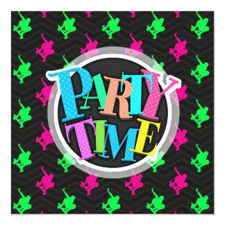 Neon Green, Hot Pink, Skater, Black Chevron 13 Cm X 13 Cm Square Invitation Card