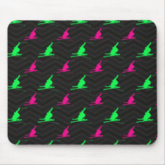 Neon Green, Hot Pink, Snow Ski, Black Chevron Mouse Pad