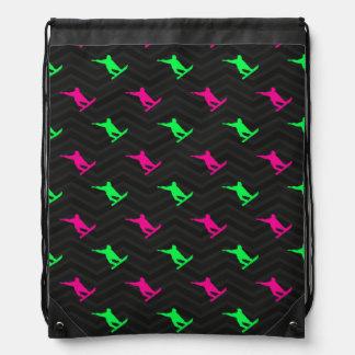 Neon Green, Hot Pink, Snowboarding, Black Chevron Backpacks