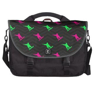 Neon Green, Hot Pink, Snowboarding, Black Chevron Bag For Laptop