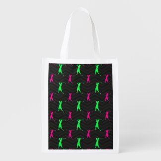 Neon Green, Hot Pink, Vintage Golfer Black Chevron