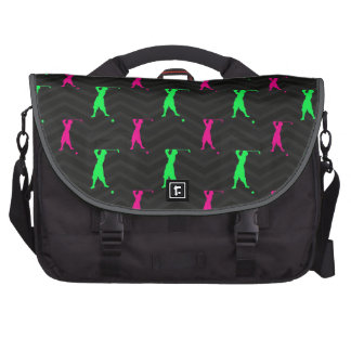 Neon Green, Hot Pink, Vintage Golfer Black Chevron Laptop Messenger Bag